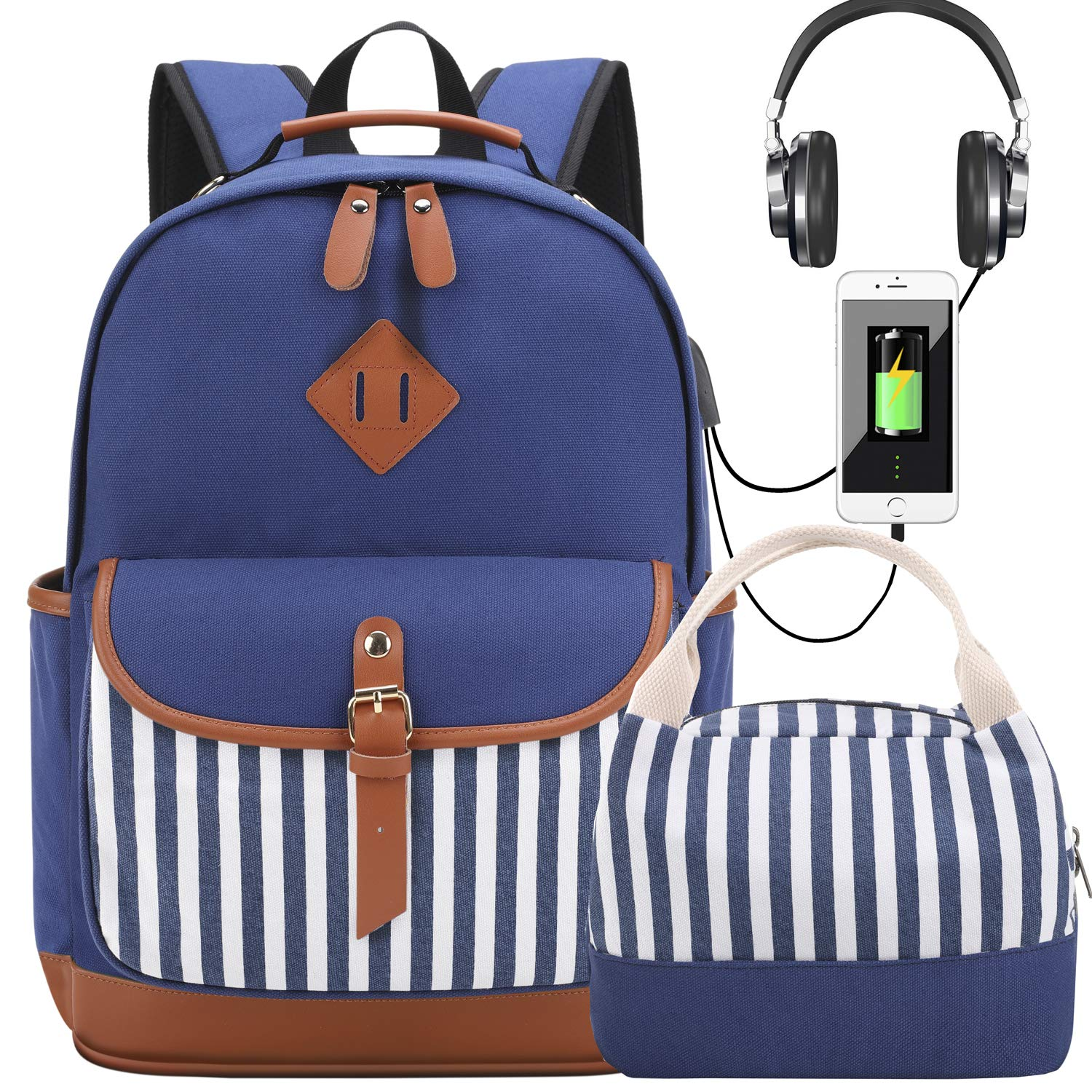 Girls School Backpacks Set with Lunch Bag Canvas Backpack with USB Charging Port Women Laptop Backpack schoolbags Bookbags (Blue Set) by Meisohua