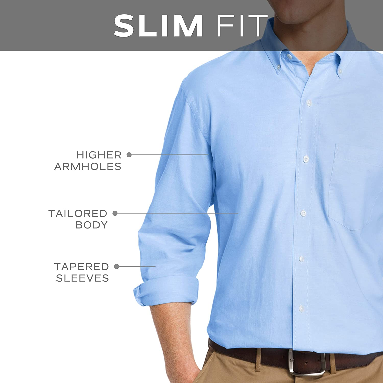 IZOD Mens Slim Fit Button Down Long Sleeve Stretch Performance Tattersal Shirt
