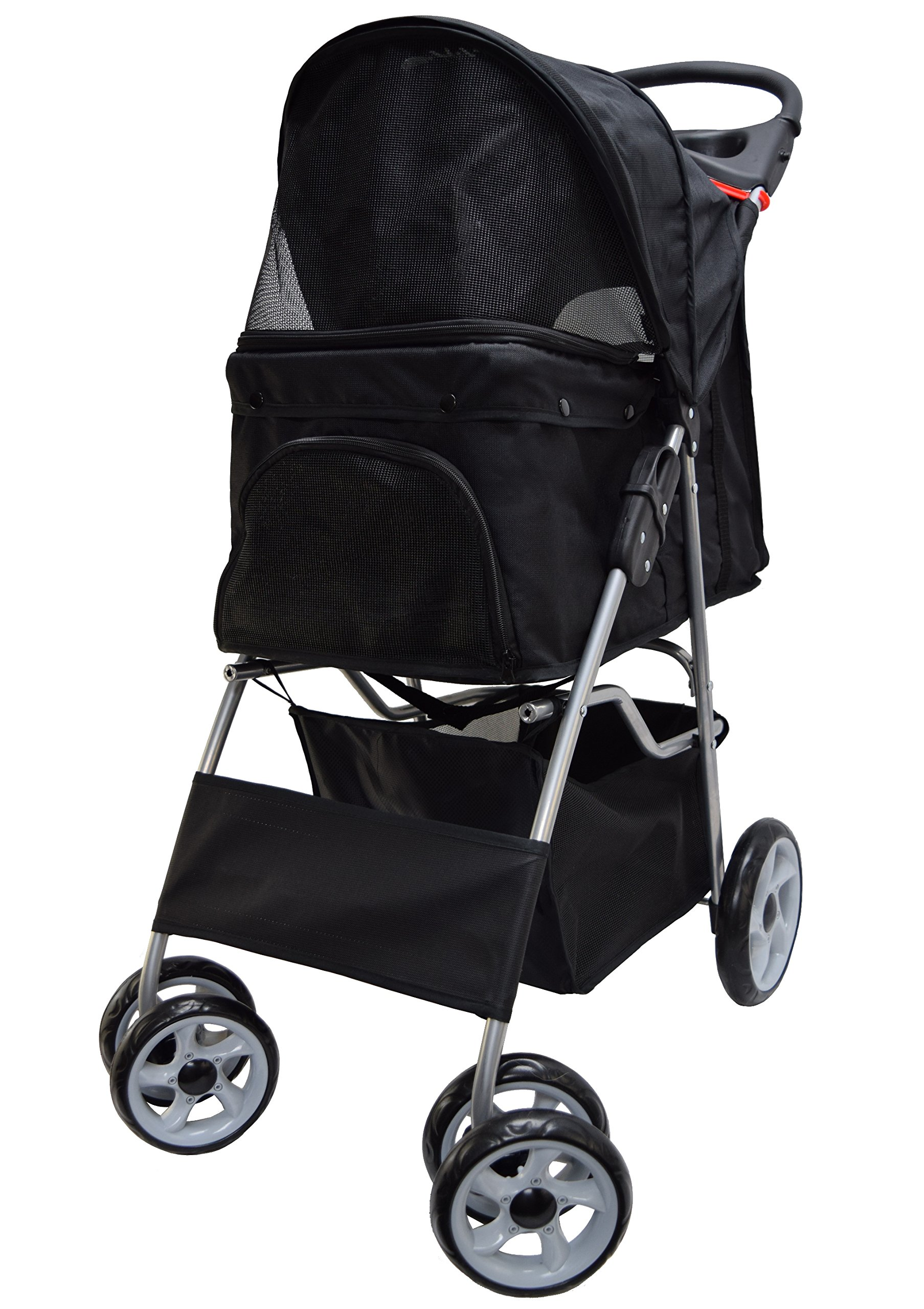 VIVO Black 4 Wheel Pet Stroller for Cat, Dog and More, Foldable Carrier Strolling Cart (STROLR-V001K) by VIVO