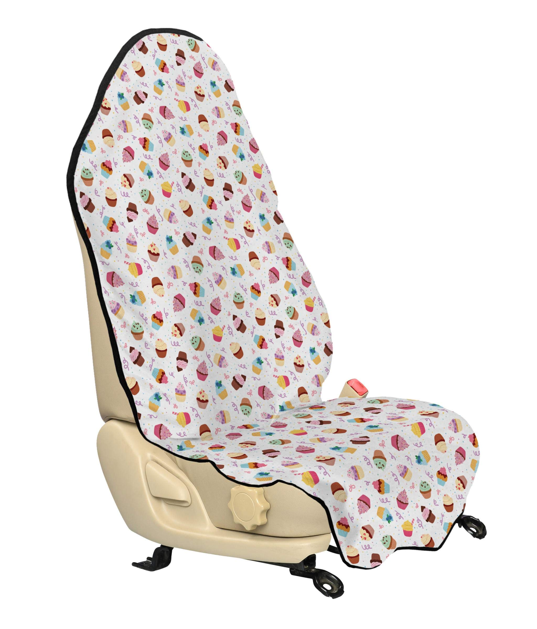 Lunarable Dessert Car Seat Hoody, Cupcakes Yummy Kitchen Dessert Birthday Celebration Valentines Day Happiness Design, Car Seat Cover Protector Non Slip Backing Universal Fit, 30'' X 57'', Pink Brown by Lunarable