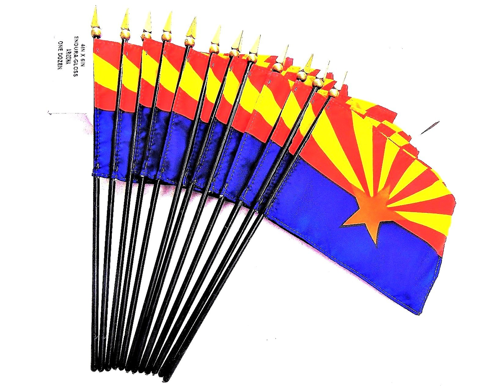 MADE IN USA!! Box of 12 Arizona 4''x6'' Miniature Desk & Table Flags; 12 American Made Small Mini Arizona State Flags in a Custom Made Cardboard Box Specifically Made for These Flags