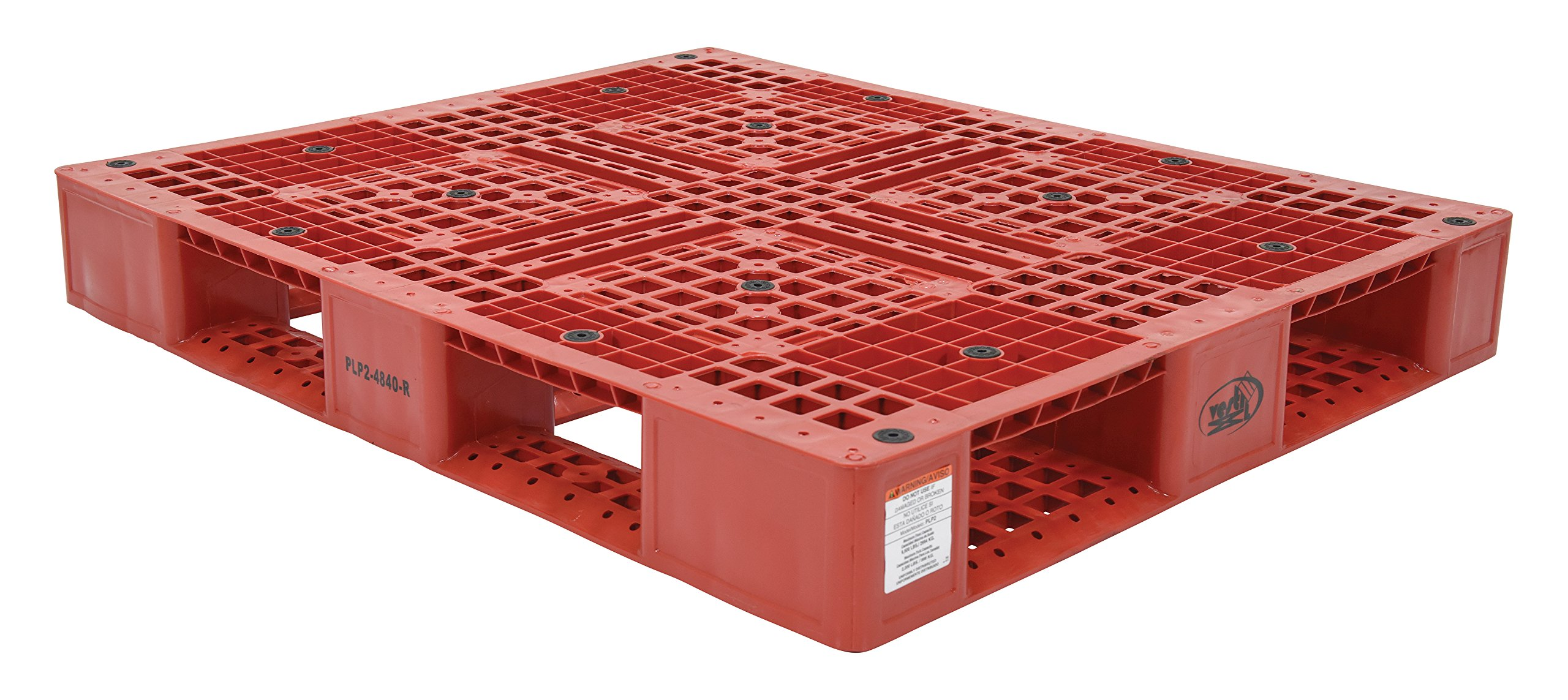 Vestil PLP2-4840-RED Red Polyethylene Pallet with 4 Way Entry, 6600 lbs Capacity, 39.5'' Length, 47.375'' Width x 6'' Height by Vestil