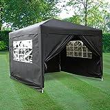 Airwave ESC Ltd 3x3mtr Pop Up Waterproof Gazebo in Black with 2 WindBars and 4 Leg Weight Bags
