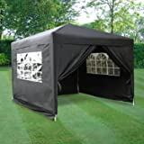Airwave ESC Ltd 3x3mtr Pop Up Waterproof Gazebo in Black 2 WindBars 4 Leg Weight Bags