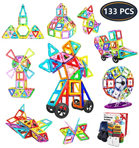 Jasonwell 133 Pieces Creative Magnetic Building Blocks for Boys Girls  Magnetic Tiles Building Set Preschool Educational Construction Kit Magnet