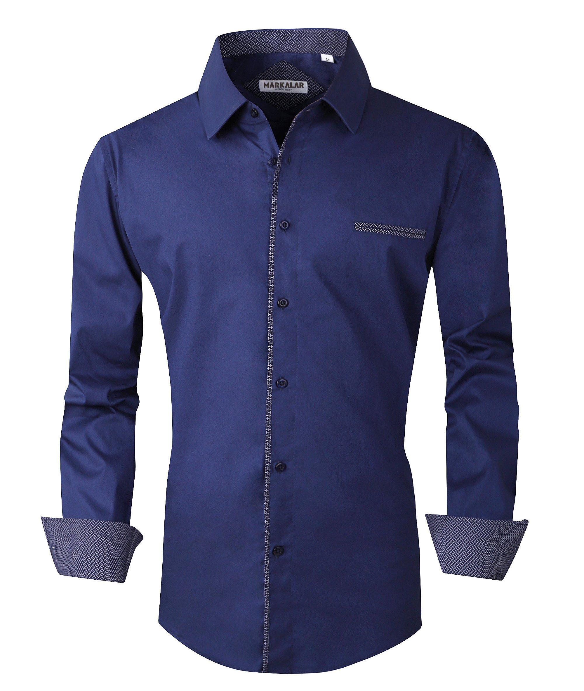 Mens Button Down Shirts Regular Fit Long Sleeve Cotton Casual Dots Dress Shirts,DarkBlue,XXL