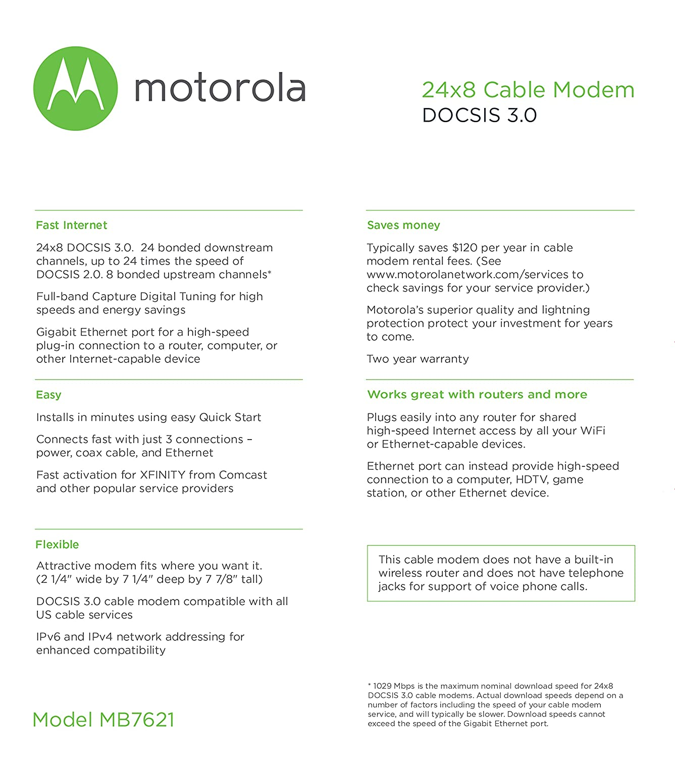 Motorola 24x8 Cable Modem Model Mb7621 Docsis 30 Xfinity Wiring Diagram Approved By Comcast Cox Charter Spectrum Time Warner And More