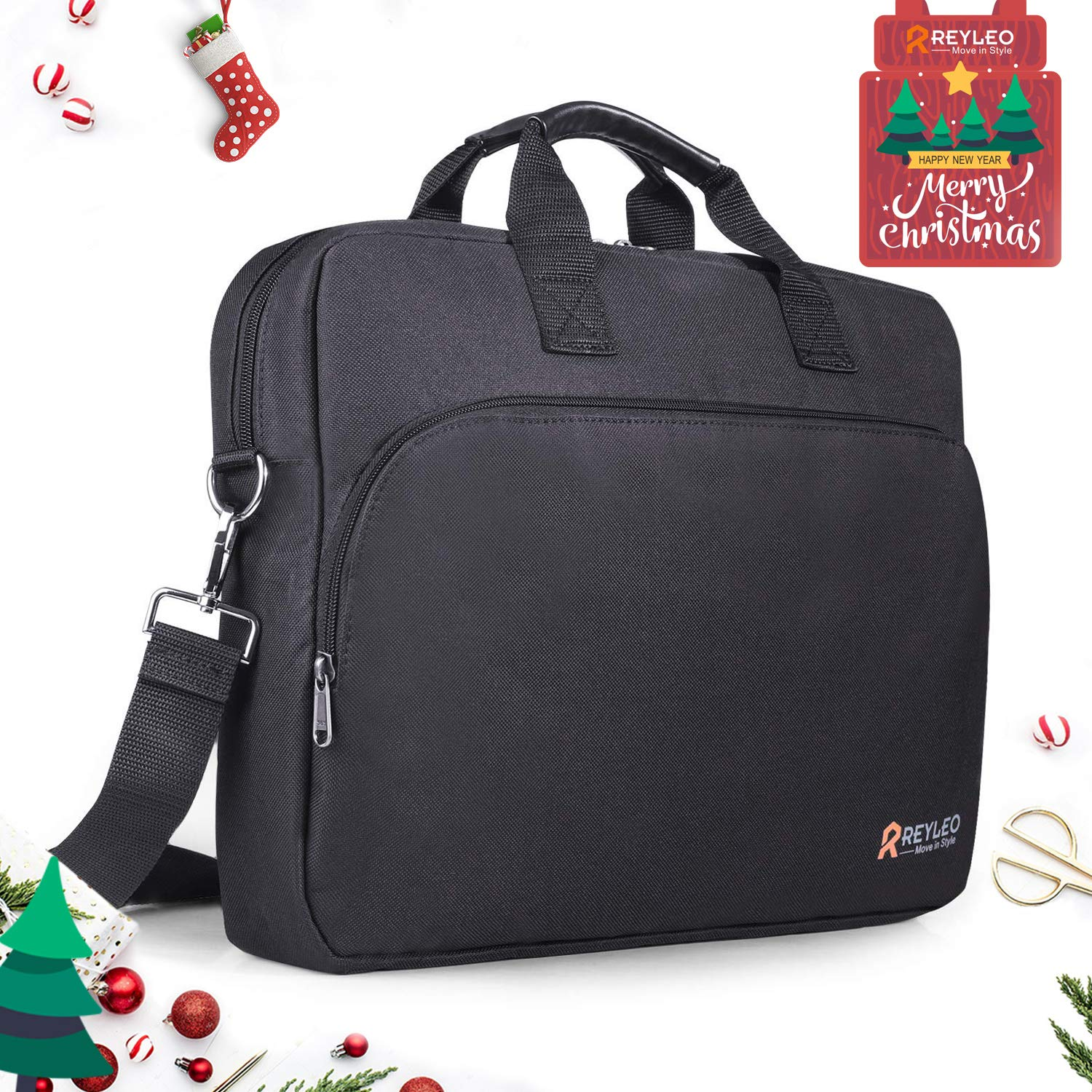 REYLEO 15.6 Inch Laptop Bag Travel Briefcase with Luggage Strap Water Resistant Shoulder Bag Business Messenger Briefcases for Men and Women Fits Laptop Computer Tablet LCB1B