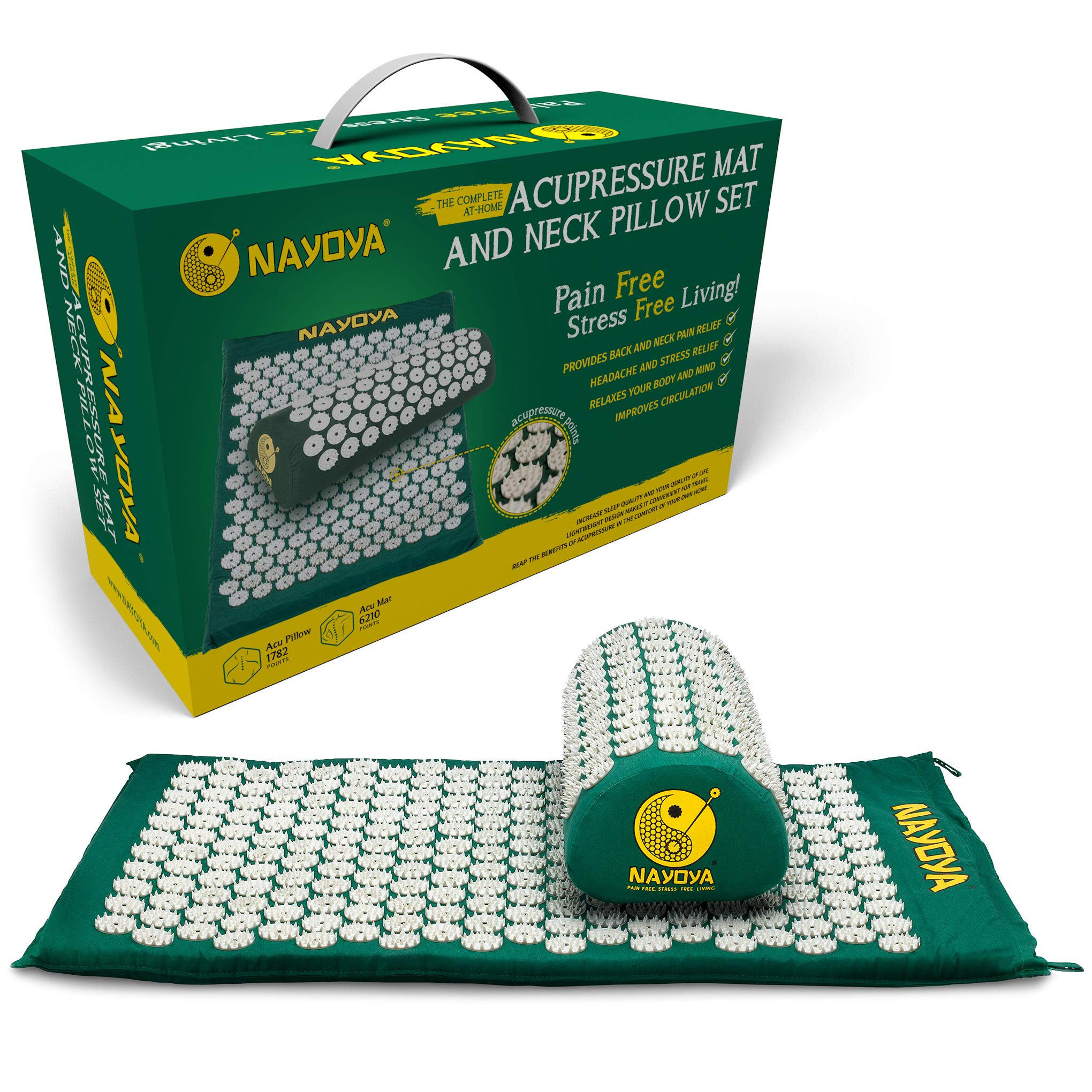 Nayoya Back and Neck Pain Relief - Acupressure Mat and Pillow Set - Relieves Stress, Back, Neck, and Sciatic Pain - Comes in a Carry Case for Storage and Travel - As Seen in USA Today by NAYOYA