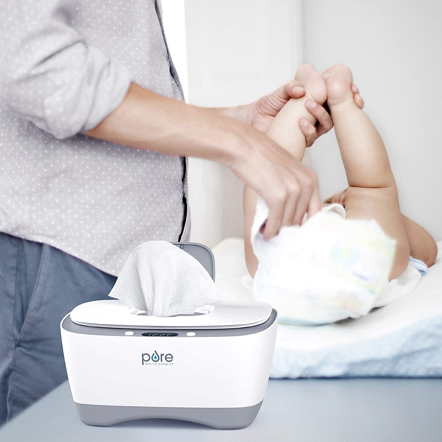 Easy-Feed Dispenser with 3 Heat Settings LCD Display Pure Enrichment PureBaby Wipe Warmer with Digital Display 80 Wipe Capacity Naturally Steam Heated for Maximum Comfort and Safety for Baby
