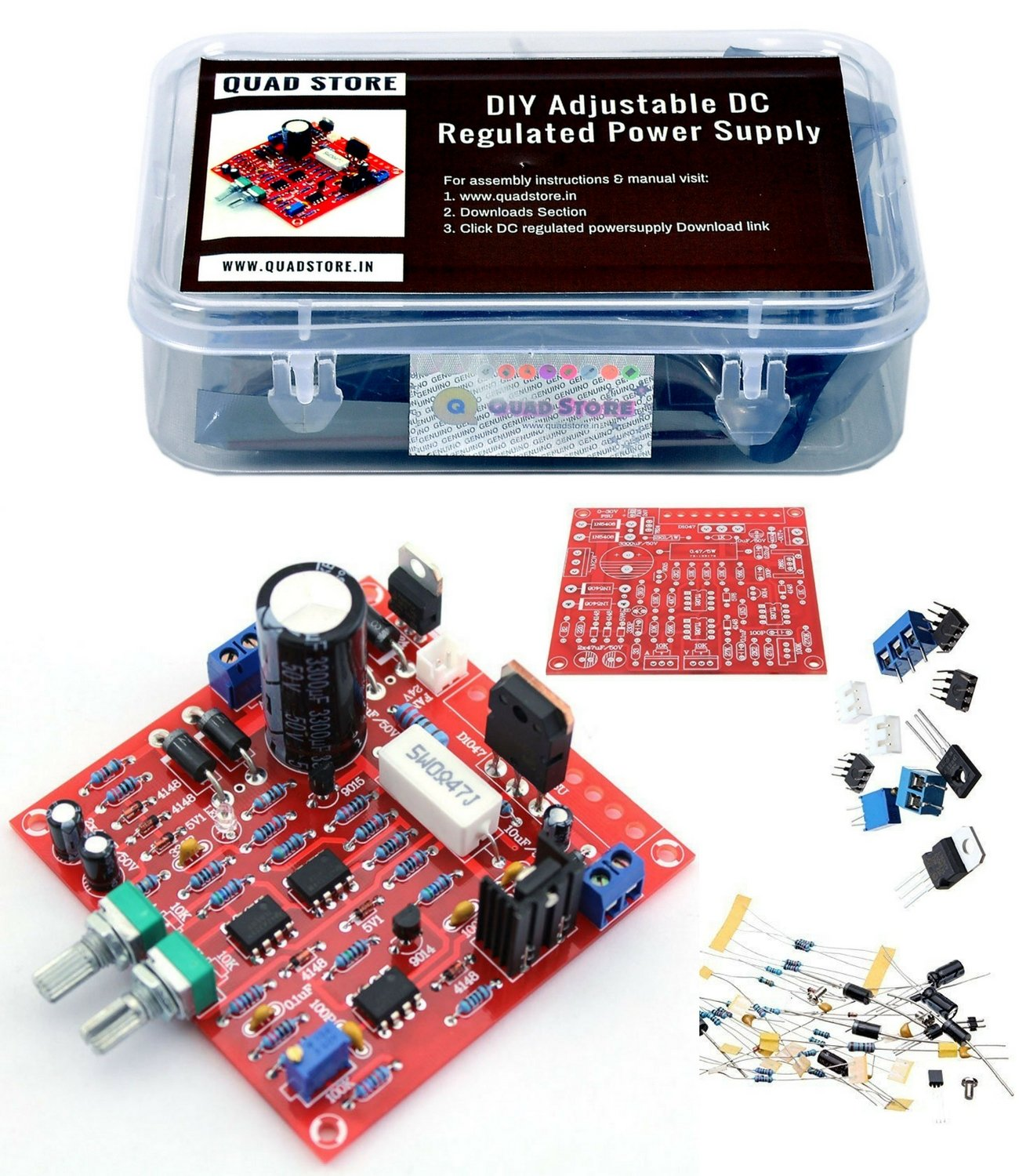 Adjustable Regulated Power Supply Kit AC//DC Module Short Circuit Protection