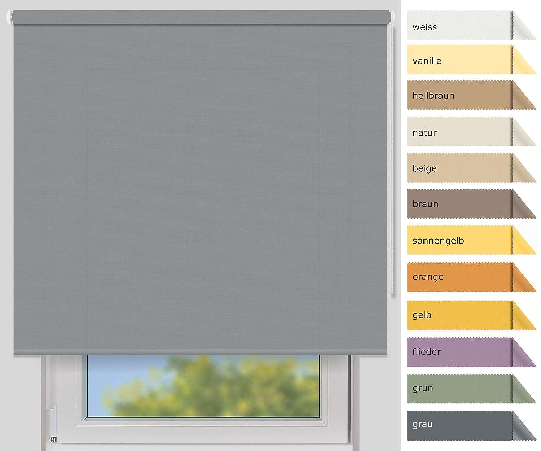 EFIXS Sichtschutzrollo Medium - 25 mm Welle - Farbe  grau (4993) - Größe  220x190cm (Stoffbreite x Höhe) - weitere Standard-Größen im Angebot wählbar B00YEX6NLY Seitenzug- & Springrollos