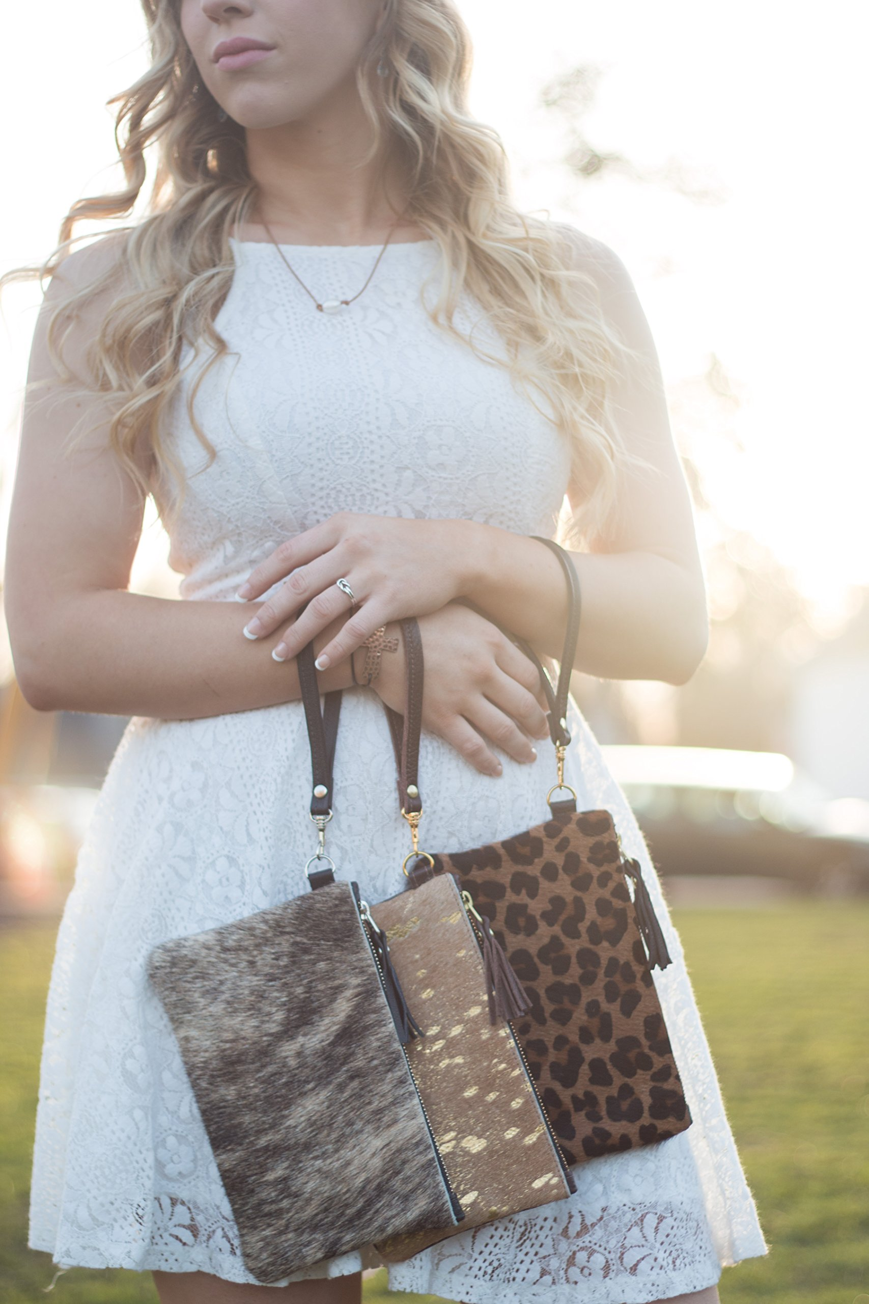Cowhide Leather Wristlet - Brown & White
