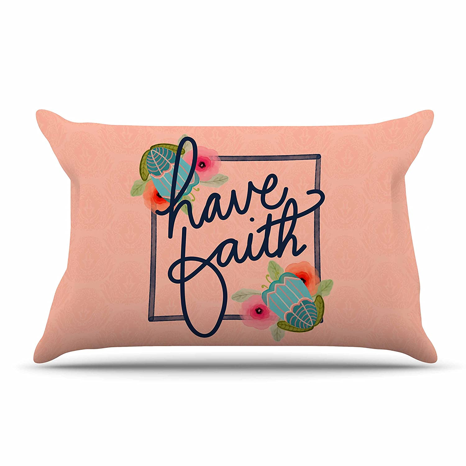 40 x 20 Pillow Sham Kess InHouse Noonday Design Have Faith Coral Teal Typography