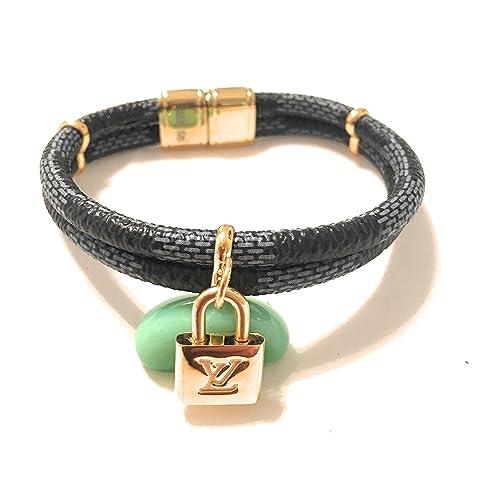 Louis Vuitton Mujer Lujo Damier Ebene candado Lockit Wrap pulsera brazalete oro pulseras oro: Amazon.es: Joyería