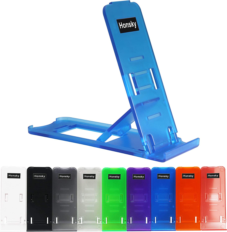 Honsky Universal Portable Pocket-sized Adjustable Collapsible Plastic Cellphone Holder, Tablet Stands, Smartphone Mounts, Mobile Cell Phone Mount (Bundle, Multi-Color, Clear) - 9 Pack