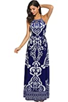 Meaneor Women Casual Halter Neck Backless Sleeveless Printed Slim Maxi Dresses