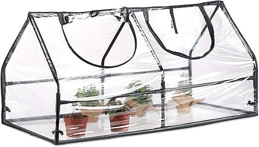 Relaxdays Invernadero Jardín y Terraza, PVC, Acero y Plástico, Transparente, 60 x 120 x 60 cm: Amazon.es: Jardín