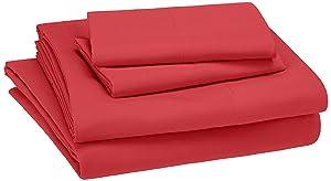 AmazonBasics Kid's Sheet Set - Soft, Easy-Wash Microfiber - Queen, Red