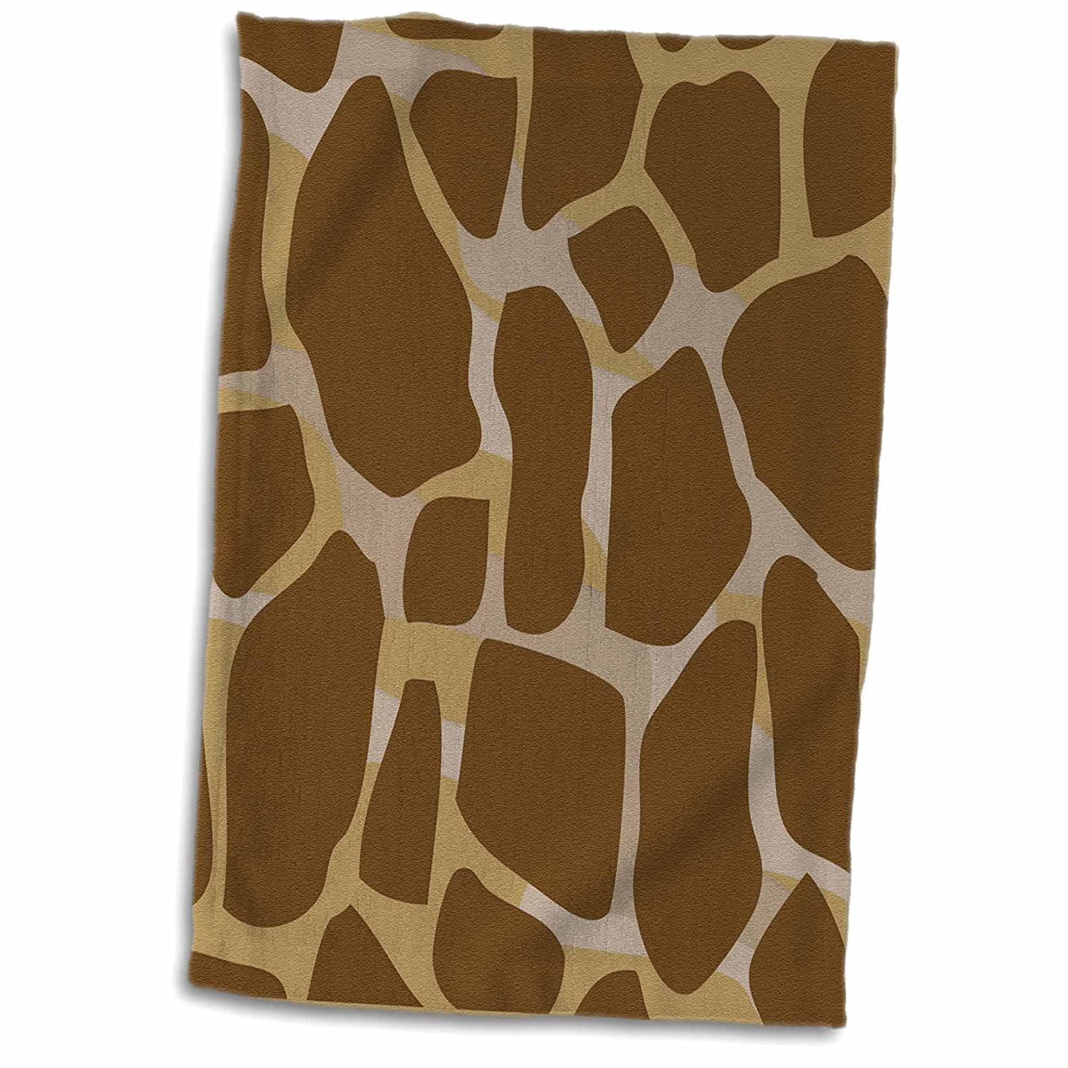 3D Rose Brown and Beige Layered Giraffe Print Hand Towel 15 x 22 Multicolor