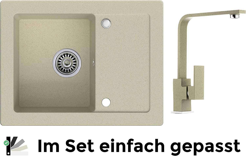 K/üchensp/üle Granitsp/üle beige Hochdruck Armatur 9000 Sp/ülbecken Siphon Schrankbreite ab 45 cm Drehexcenter 1-Becken