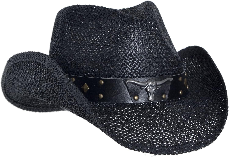 Faux Leather Shapeable Brim Longhorn Vamuss Black Straw Cowboy Hat for Men
