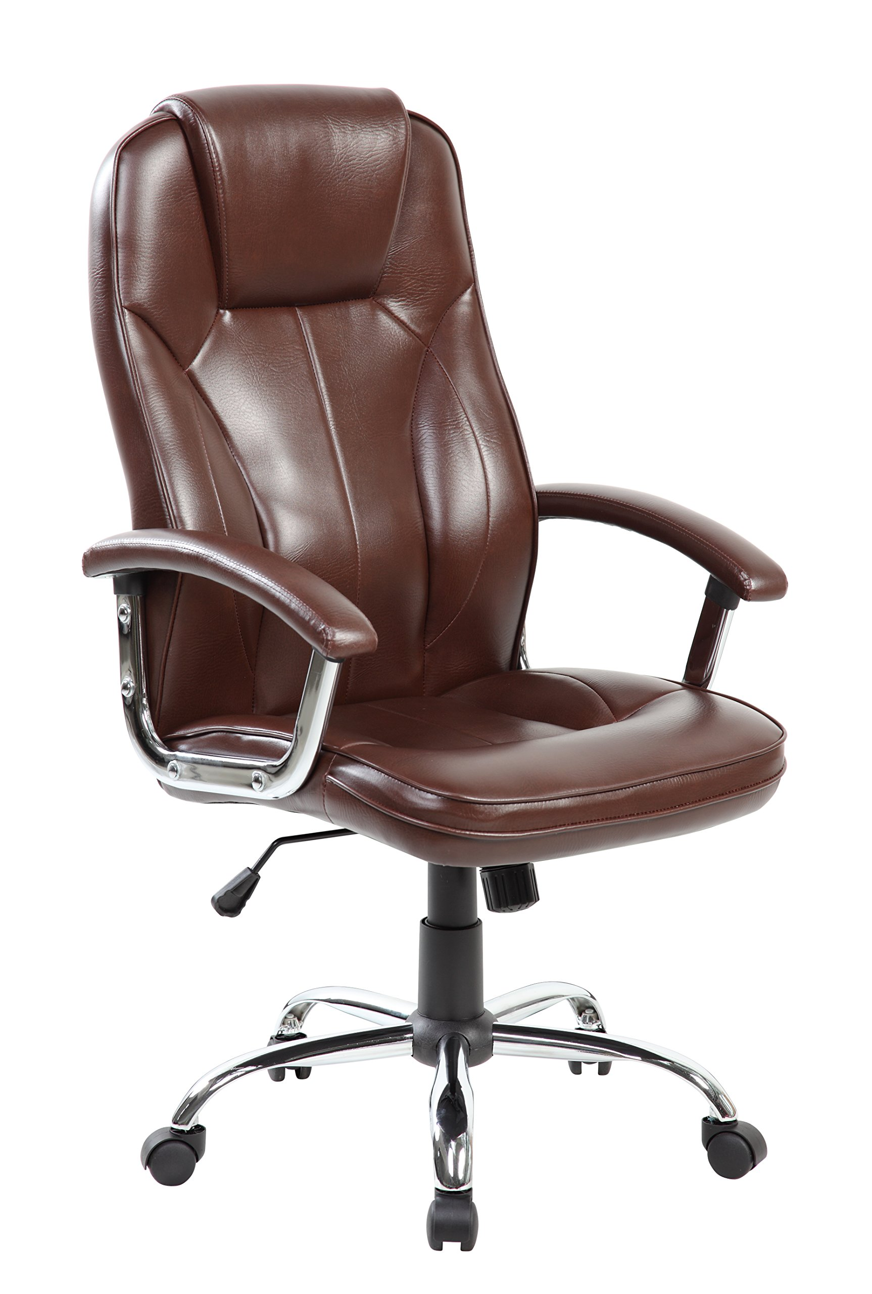 Ergonomic Executive Office Chairs PU Leather Home Office Adjustable Swivel Computer Desk Task Chairs with Arms(ES-9313-Brown