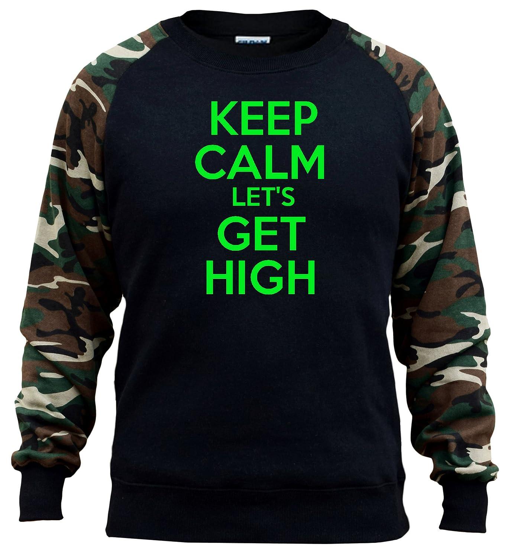 Mens Keep Calm Lets Get High V456 Black//Camo Raglan Baseball Sweatshirt Black