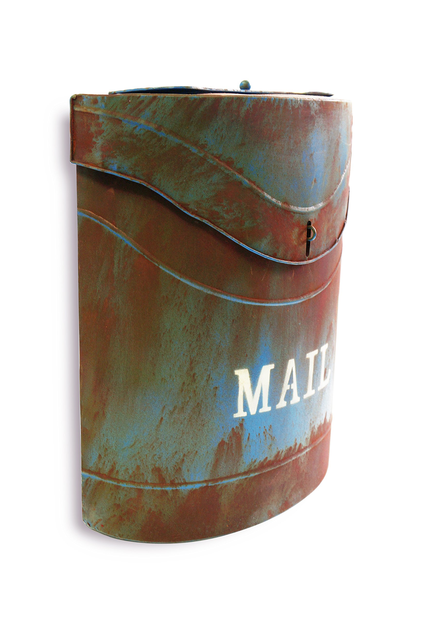 NACH FZ-M1001BLU Kinley MAIL Industrial Style Mailbox - Wall Mounted Post Box, Rustic Blue, 11.4 x 4.52 x 13.9 inch