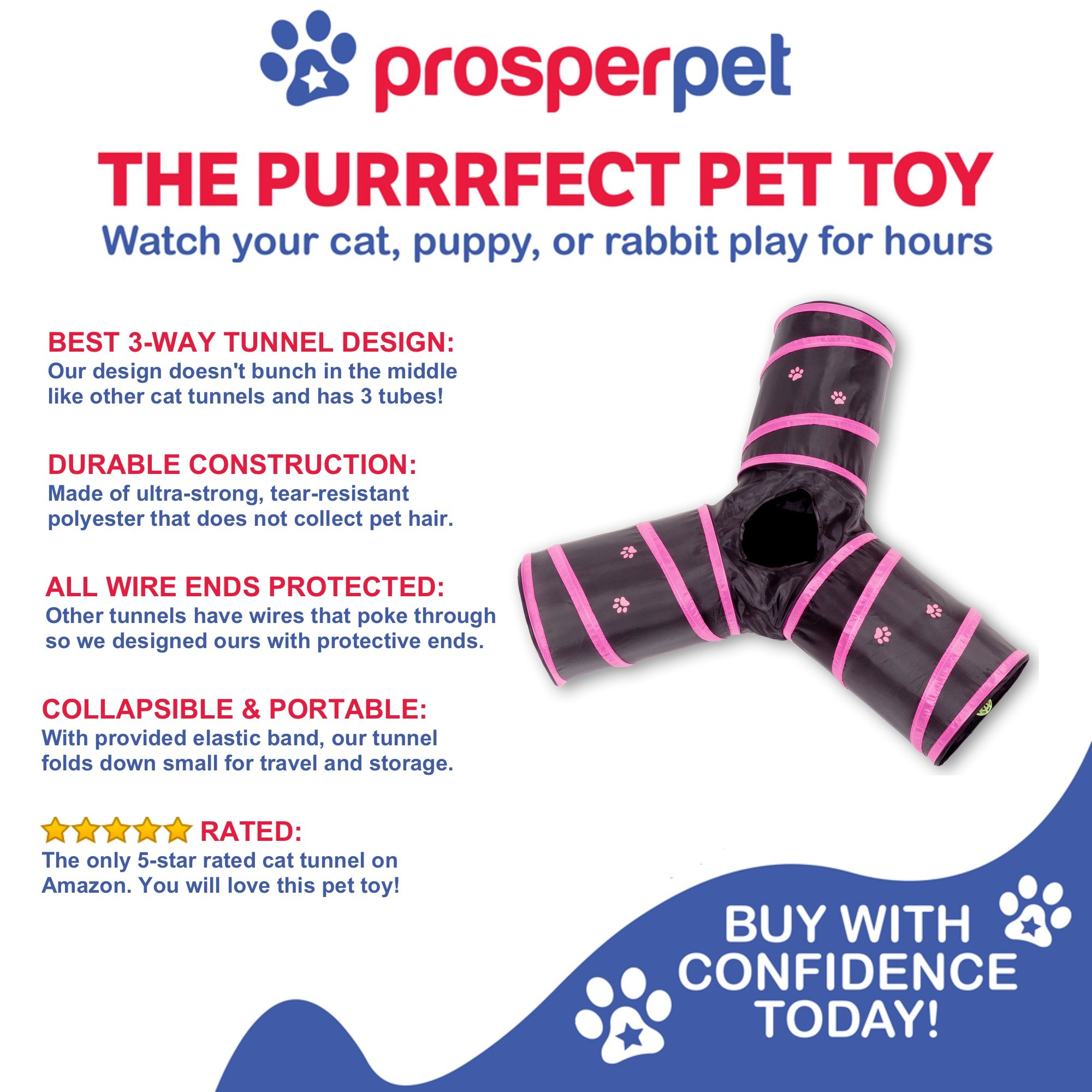 Prosper Pet Cat Tunnel - Collapsible 3 Way Play Toy - Interactive Tube Toys for Rabbits, Kittens, and Dogs - Black/Pink by Prosper Pet (Image #7)