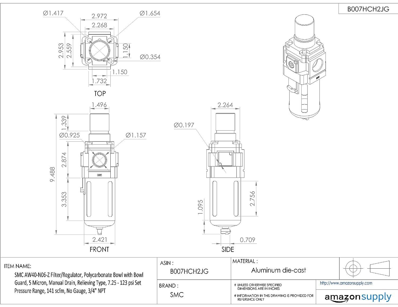 3//4 NPT Manual Drain 5 Micron SMC AW40-N06-Z Filter//Regulator 141 scfm Relieving Type Polycarbonate Bowl with Bowl Guard No Gauge 7.25-123 psi Set Pressure Range