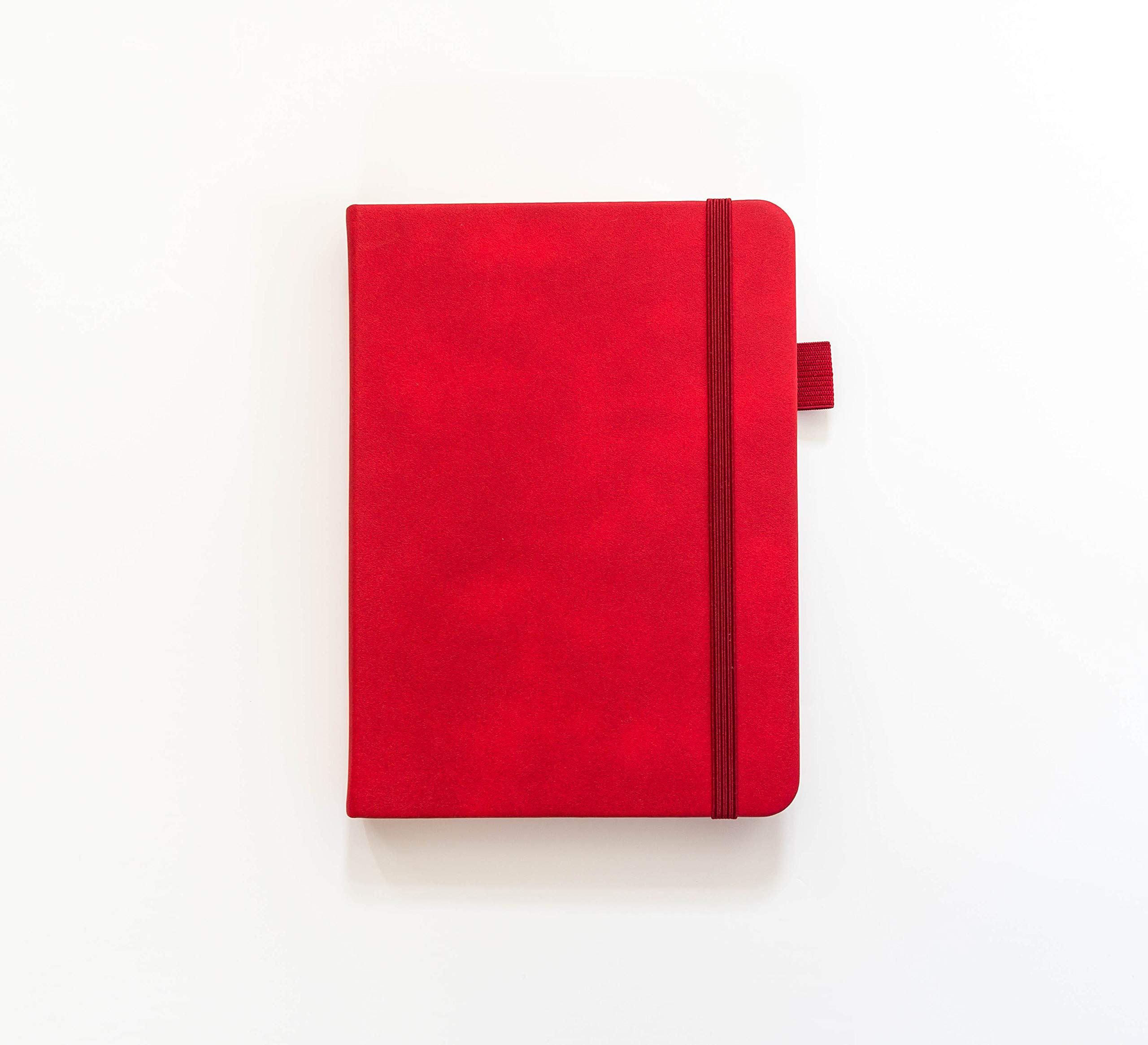 Scribbles That Matter - Dot Grid Journal with Elastic Band - Premium Thick Paper Writing Notebook - Elegant Unique Designer Cover and Pen Loop (B6, Red)