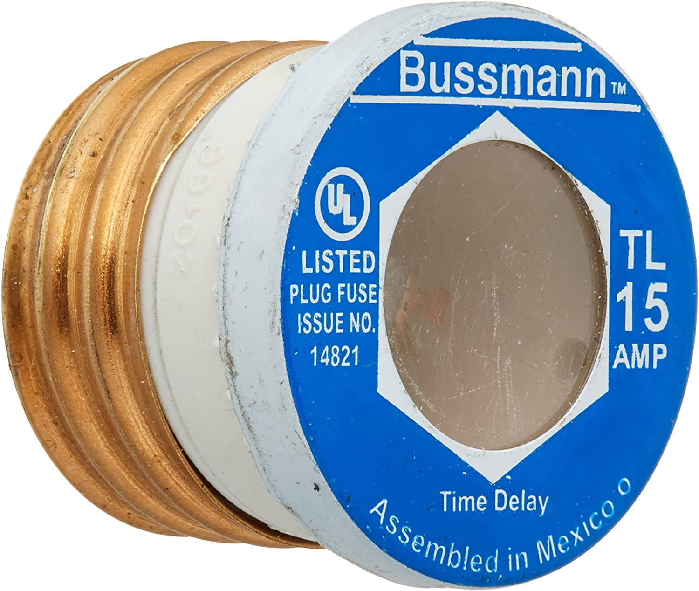 Bussmann BP/TL-15 15 Amp Time Delay, Loaded Link Edison Base Plug Fuse, 125V UL Listed Carded, 3-Pack