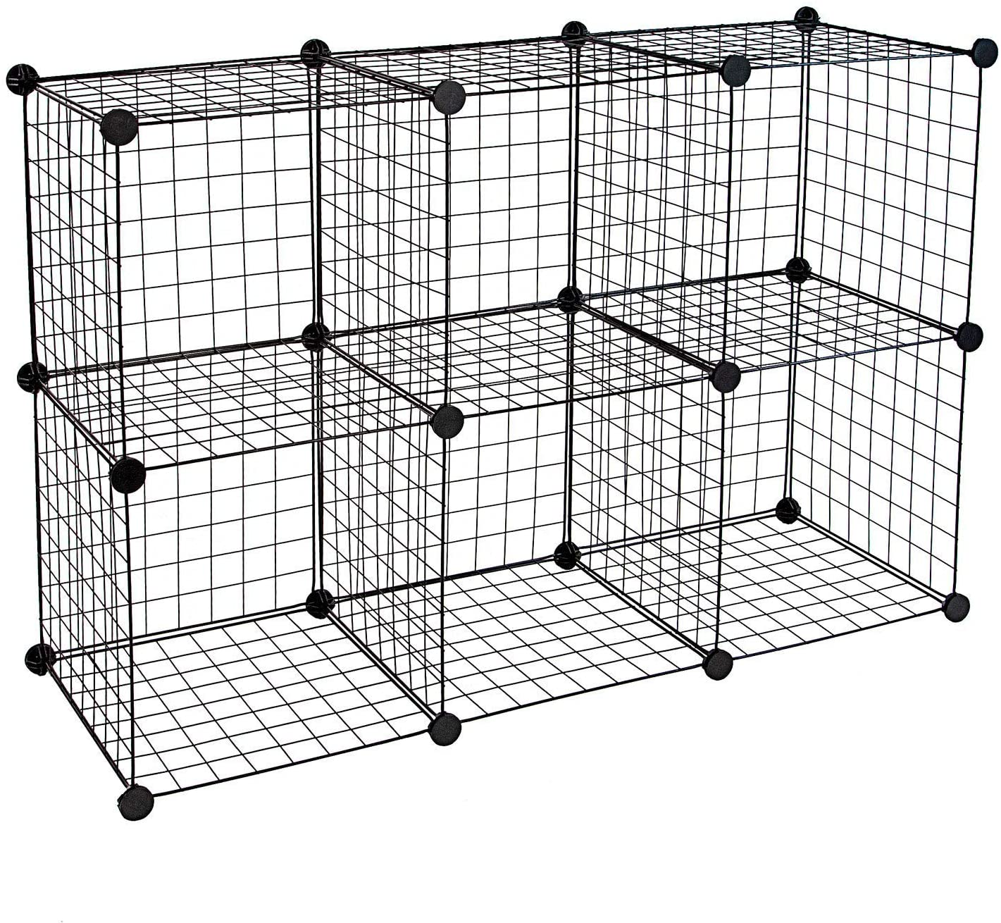"Work-It! Wire Storage Cubes, 6-Cube Metal Grid Organizer | Modular Wire Shelving Units, Stackable Bookcase, DIY Closet Cabinet Organizer for Home, Office, Kids Room | 14"" W x 14"" H, Black"