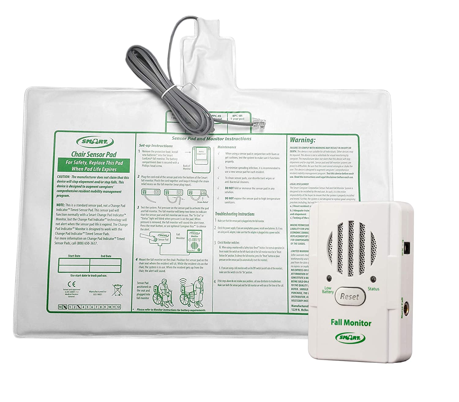 """Basic Fall Monitor and 10"""" x 15"""" Chair Pad (1 Year Warranty) Smart Caregiver BPMC365"""
