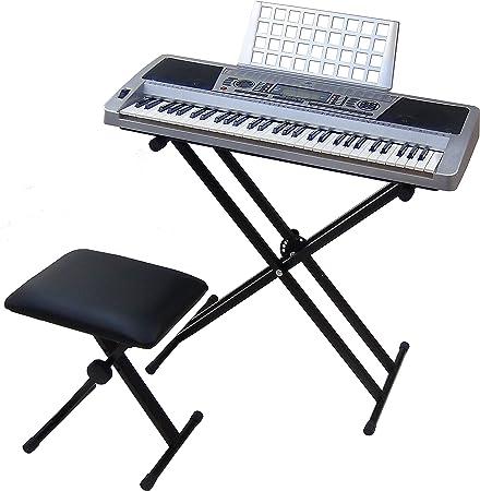 Teclado 61 teclas DynaSun MK939 LCD MIDI Respuesta Táctil Pitch Bend Keyboard E-Piano Electronico Digital Función Enseñanza con Banco y Soporte