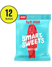 SmartSweets SweetFish 1.8 oz Bags (Box of 12), Candy with Low-Sugar (3g) and Low-Calories (80)- Free of Sugar Alcohols and No Artificial Sweeteners