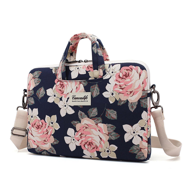 Canvaslife White Rose Patten Canvas Laptop Shoulder Messenger Bag Case Sleeve for 11 Inch 12 Inch 13 Inch Laptop