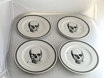 Halloween Lace Skull Porcelain Ceramic Accent / Appetizer / Dessert / Salad Plates by Royal Stafford & Amazon.com | Halloween Lace Skull Porcelain Ceramic Accent ...