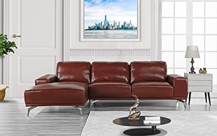 Divano Roma Furniture - Modern Real Leather Sectional Sofa, L-Shape Couch  w/Chaise on Left (Light Brown)