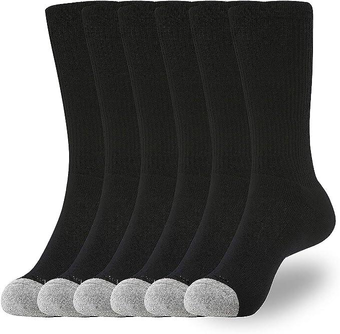 WANDER Men's Crew Socks for Boots 6-Packs Cotton Full Cushion Socks Men Black 8-13