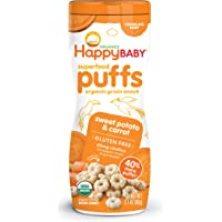 Happy Baby Organic Superpuff Sweet Potato and Carrot Puffs, 60g