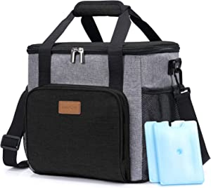 Lifewit Insulated Cooler Bag Soft Cooling Box for Men Adults, 17L (24-Can) Large Lunch Box Bag for School/Work, Grey [with 2 Ice Packs]
