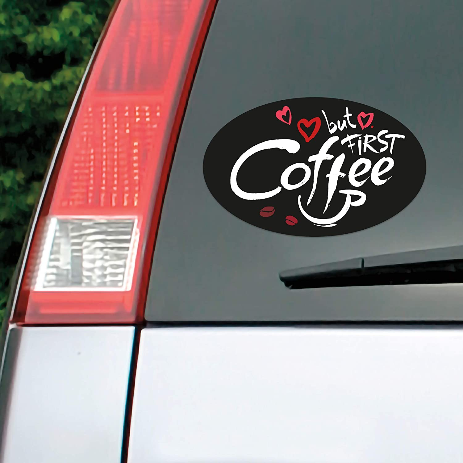 Trendy Euro Oval Sticker and Circle Sticker Weatherproof and Colorful Decal Stickers with Cute and Fun Coffee 3 Pack Vinyl Car Stickers Bumper Sticker and Ice Cream Design. Donuts