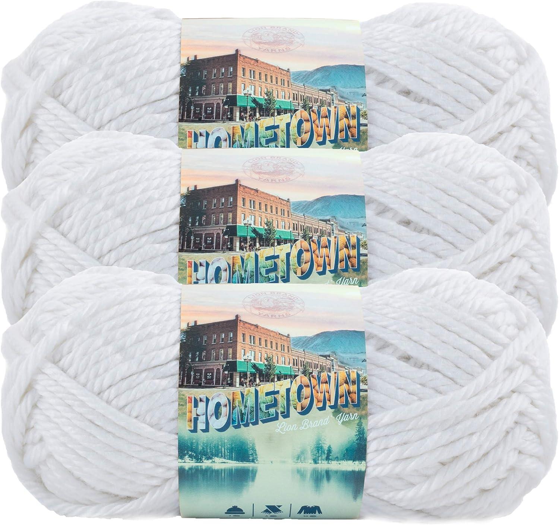 Lion Brand Yarn (3 Pack) 135-100R Hometown Yarn, New York White