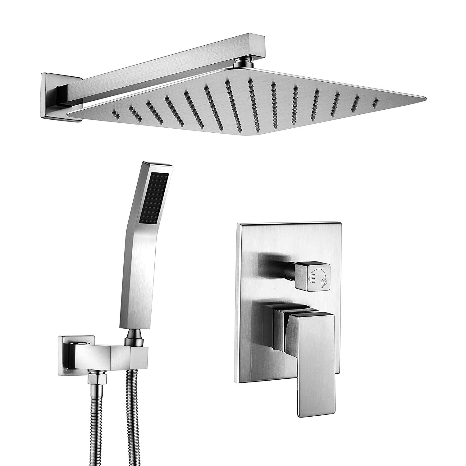 Acefy Atf18001 Bathroom Shower System Brushed Nickel With 12 Inch