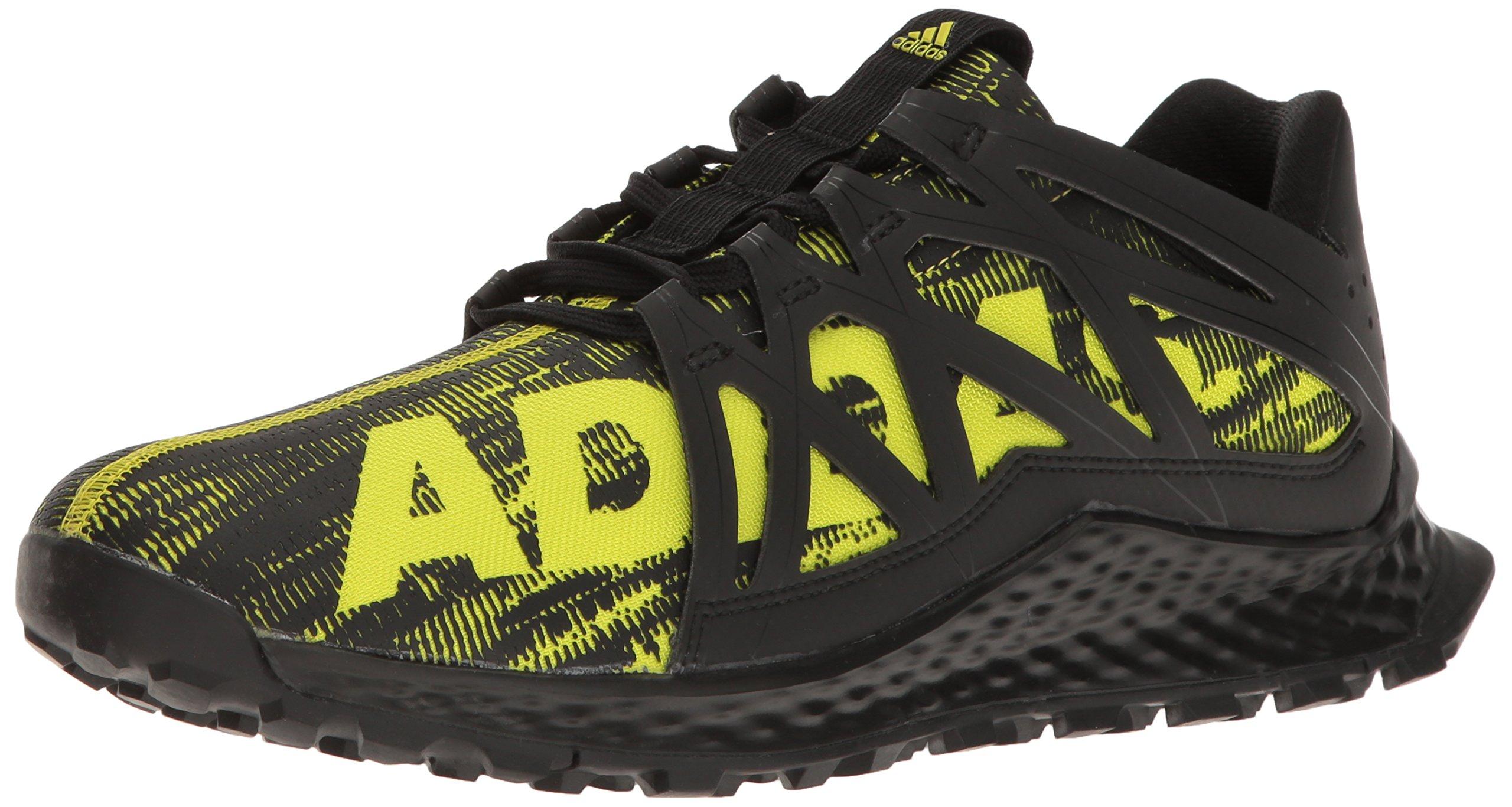 adidas Men's Vigor Bounce m Trail Runner, Black/Shock Slime/Black, 11 M US