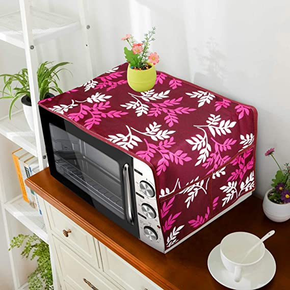 E-Retailer® Polyester 3-Layered Microwave-Oven Top Cover with 4 Pockets (Color- Purple, Size-36x14 Inches)