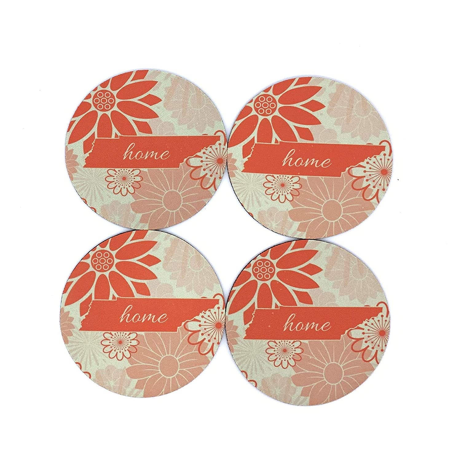 Tennessee State Silhouette Home Orange Beige Coasters Set of 4