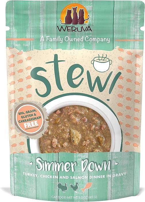 Weruva Classic Cat Stews!, Simmer Down with Turkey, Chicken & Salmon in Gravy, 3oz Pouch (Pack of 12)